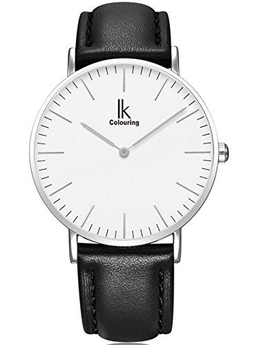 Alienwork IK elegant Quarzuhr Uhr modisch Zeitloses Design klassisch silber schwarz Leder 98469L 02