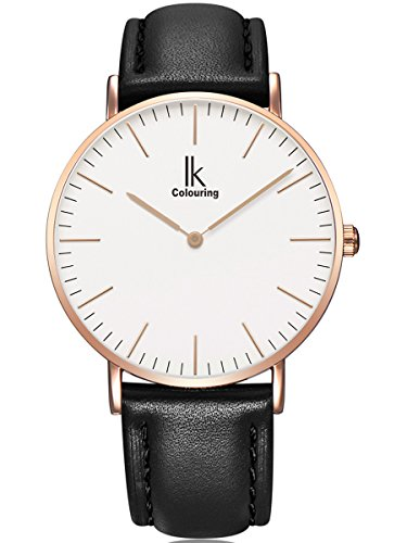 Alienwork IK Quarz Armbanduhr elegant Quarzuhr Uhr modisch Zeitloses Design klassisch rose gold schwarz Leder 98469L 04