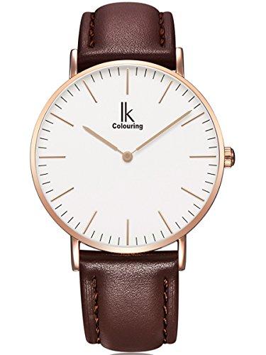 Alienwork IK elegant Quarzuhr Uhr modisch Zeitloses Design klassisch rose gold braun Leder 98469L 05