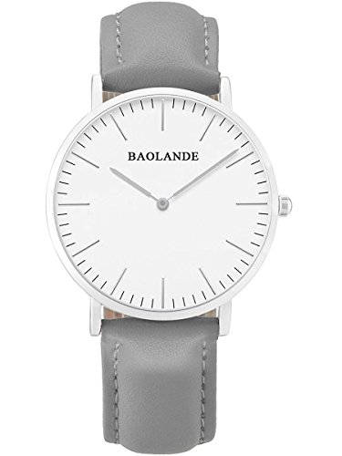 Alienwork Classic St Mawes elegant Quarzuhr Uhr modisch Zeitloses Design klassisch silber grau Leder U04815L 05