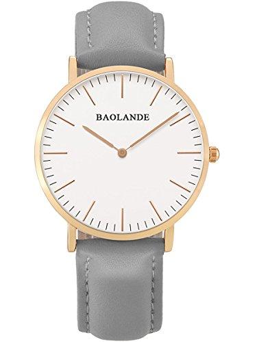 Alienwork Classic St Mawes Quarz Armbanduhr elegant Quarzuhr Uhr modisch Zeitloses Design klassisch rose gold grau Leder U04815L 06