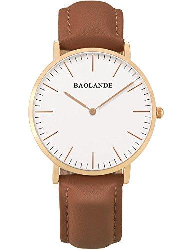 Alienwork Classic St Mawes Quarz Armbanduhr elegant Quarzuhr Uhr modisch Zeitloses Design klassisch rose gold braun Leder U04815L 08
