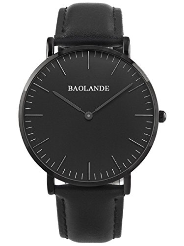 Alienwork Classic St Mawes Quarz Armbanduhr elegant Quarzuhr Uhr modisch Zeitloses Design klassisch rose gold schwarz Leder U04816M 05