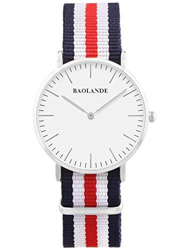 Alienwork Classic St Mawes Quarz Armbanduhr elegant Quarzuhr Uhr modisch Zeitloses Design klassisch silber blau Nylon U04820G 01