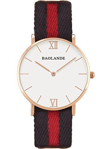 Alienwork Classic St Mawes Quarz Armbanduhr elegant Quarzuhr Uhr modisch Zeitloses Design klassisch rose gold blau Nylon U04824L 02
