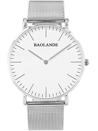 Alienwork Classic St Mawes Quarz Armbanduhr elegant Quarzuhr Uhr modisch Zeitloses Design klassisch silber Metall U04916G 01