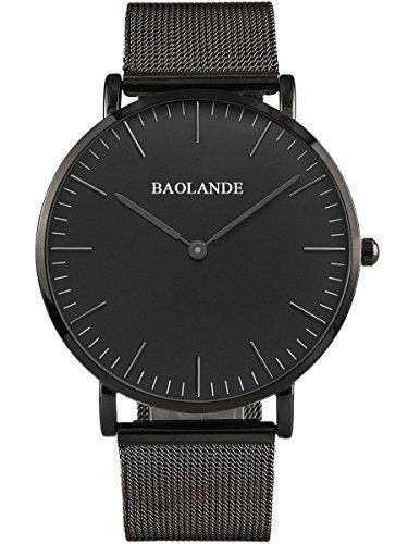 Alienwork Classic St Mawes Quarz Armbanduhr elegant Quarzuhr Uhr modisch Zeitloses Design klassisch silber schwarz Metall U04916G 03