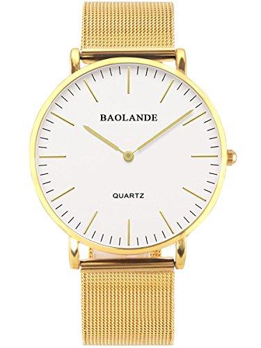 Alienwork Classic St Mawes elegant Quarzuhr Uhr modisch Zeitloses Design klassisch gold Metall U04916G 05