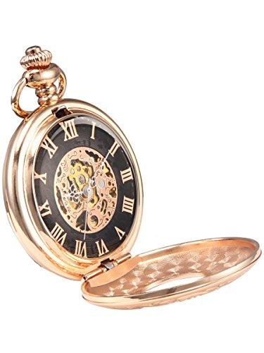 Alienwork Retro Handaufzug mechanische Taschenuhr Skelett Uhr graviert Champagner Gold schwarz rose gold Metall W893I 02