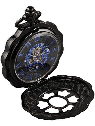 Alienwork Retro Handaufzug mechanische Taschenuhr Skelett Uhr graviert blau schwarz Metall W891H 01