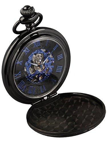 Alienwork Retro Handaufzug mechanische Taschenuhr Uhr blau schwarz Metall W891F 01