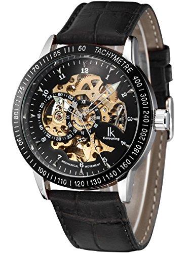Alienwork IK mechanische Skelett Automatikuhr Uhr graviert schwarz Leder 98226 04