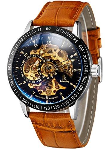 Alienwork IK mechanische Automatik Armbanduhr Skelett Automatikuhr Uhr schwarz braun Leder 98226 22