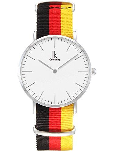 Alienwork Classic St Mawes Quarz Armbanduhr elegant Quarzuhr Uhr modisch Euro 2016 Fussball Deutschland weiss schwarz Nylon U04825G 01