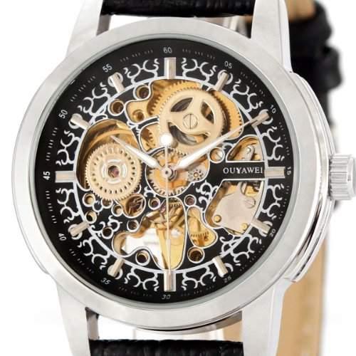 Alienwork mechanische Automatik Armbanduhr Skelett Automatikuhr Uhr schwarz Leder OSOYW1302-01-R1