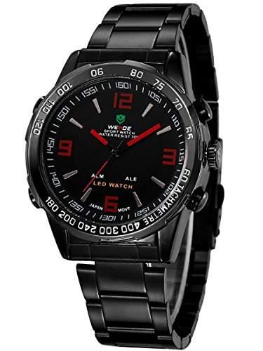 Alienwork DualTime LED Analog-Digital Armbanduhr Multi-funktion Uhr schwarz Edelstahl OSWH-1009-B-4