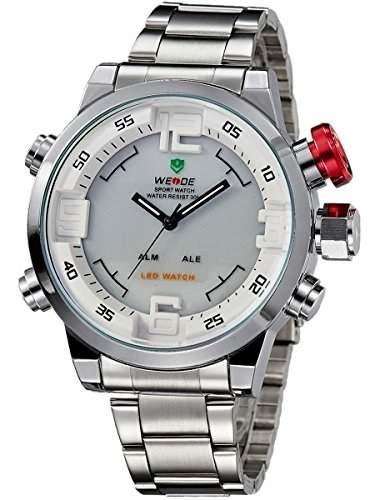 Alienwork DualTime LED Analog-Digital Armbanduhr XXL Oversized Uhr Multi-funktion weiss silber Edelstahl OSWH-2309-2