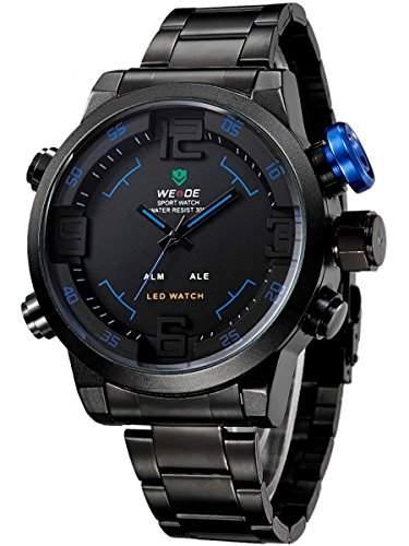 Alienwork DualTime LED Analog-Digital Armbanduhr XXL Oversized Uhr Multi-funktion schwarz Edelstahl OSWH-2309-B-4