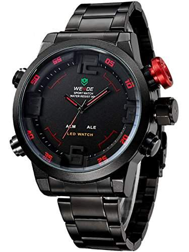 Alienwork DualTime LED Analog-Digital Armbanduhr XXL Oversized Uhr Multi-funktion schwarz Edelstahl OSWH-2309-B-5