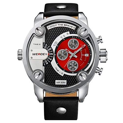 Alienwork DualTime Quarz Armbanduhr Multi Zeitzonen Quarzuhr Uhr XXL Oversized rot schwarz Leder OSWH-3301-5