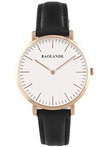 Alienwork Classic StMawes Quarz Armbanduhr elegant Quarzuhr Uhr modisch Zeitloses Design klassisch rose gold schwarz Leder U04816M-03