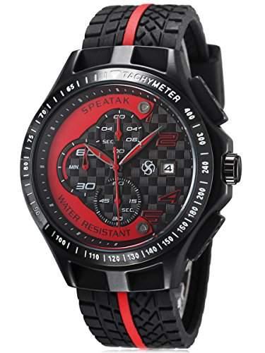 Alienwork Quarz Armbanduhr Multi-funktion Quarzuhr Uhr XXL Oversized rot schwarz Silikon U9052G-03