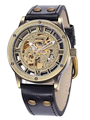 Alienwork Retro mechanische Automatik Armbanduhr Skelett Automatikuhr Uhr vintage bronze braun schwarz Polyurethan W9397-01