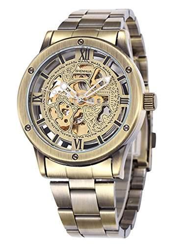 Alienwork Retro mechanische Automatik Armbanduhr Skelett Automatikuhr Uhr vintage bronze braun Metall W9397-03