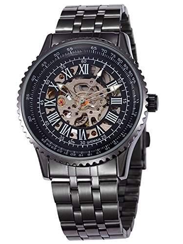 Alienwork mechanische Automatik Armbanduhr Skelett Automatikuhr Uhr schwarz Metall W9500-01