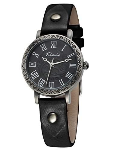 Alienwork Kimio Quarz Armbanduhr vintage schwarz Leder YHKW529S-01