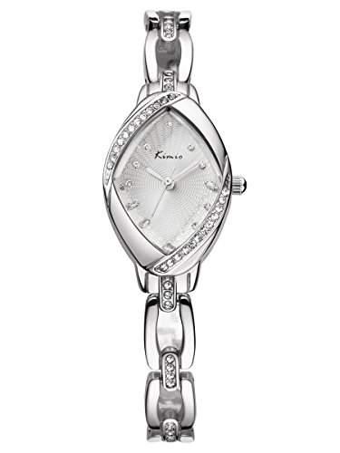 Alienwork Quarz Armbanduhr Armreif Kette wickeln Quarzuhr Uhr Strass elegant silber Metall YHKW6010S-02
