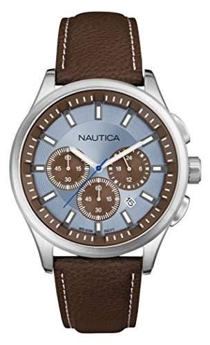Nautica Herren-Armbanduhr Chronograph Quarz Leder A16694G