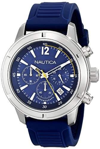 Nautica Herren-Armbanduhr XL Chronograph Quarz Silikon A17652G