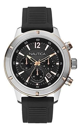 Nautica Herren-Armbanduhr XL Chronograph Quarz Silikon A17654G