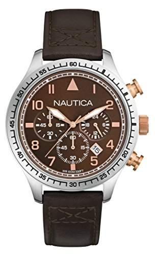 Nautica Herren-Armbanduhr Chronograph Quarz Leder A17655G