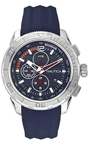 Nautica Herren-Armbanduhr XL Chronograph Quarz Silikon A18724G