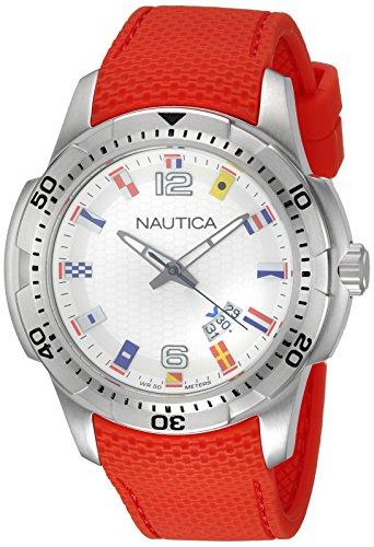 NAUTICA Herren Armbanduhr Sport Analog Silikon Kautschuk Armband rot Quarz Uhr Ziffernblatt silber weiss UNAI13513G