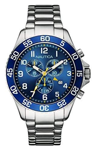 Nautica-nai17508g-NST 19-Zeigt Herren-Armbanduhr 10510262Analog Stahl Silber