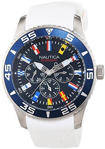 Nautica A12629G Armbanduhr Herren Armband aus Kunstharz Farbe Weiss