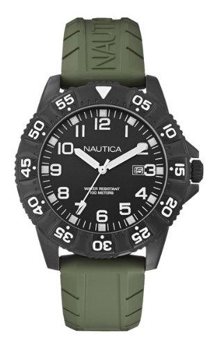 Nautica a13029g Armbanduhr Quarz Analog Zifferblatt schwarz Armband Silikon Gruen
