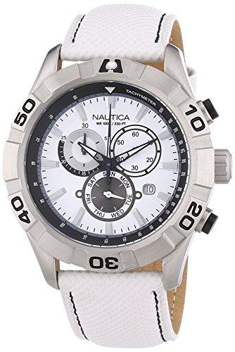 Nautica A18629G Armbanduhr Quarz Chronograph Weisses Ziffernblatt Armband Leder Weiss