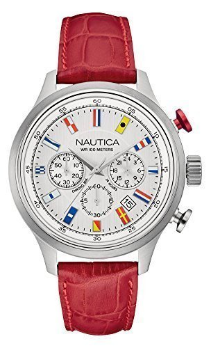 NAUTICA Armbanduhr NCT 16 Flags Chrono Silver and Red Leather NAI16519G