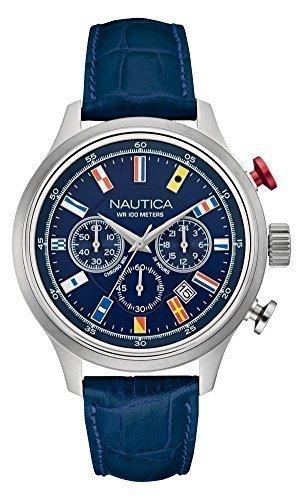 NAUTICA Armbanduhr NCT 16 Flags Chrono Navy Blue Leather NAI16520G