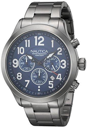 Nautica Herren 45mm Chronograph Silber delstahl Armband Gehaeuse Uhr NAI16516G