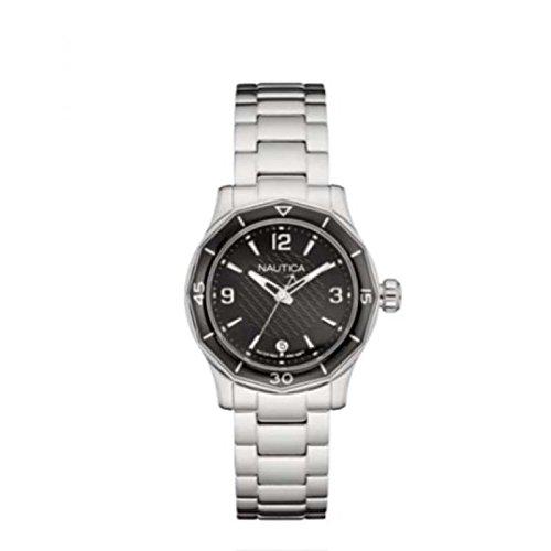 Uhr Nautica NWS 01 Lady Collection nad16531l Quarz Batterie Stahl Quandrante schwarz Armband Stahl