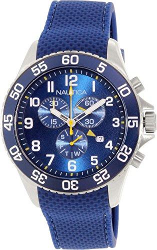 Nautica Damen Armbanduhr 45mm Armband Silikon Blau Gehaeuse Edelstahl Schweizer Quarz Chronograph NAD15501G