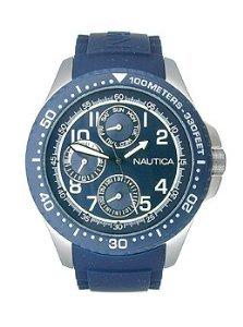 Nautica Herren NSR 200 N13686g blau Gummi Quarzuhr mit Blau Zifferblatt