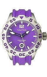 Nautica Herren Armbanduhr 53mm Armband Harz Rosa Gehaeuse Edelstahl Quarz Analog N14606G