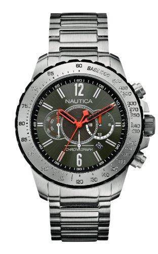 Nautica Herren Armbanduhr XL Chronograph Quarz Edelstahl A24545G