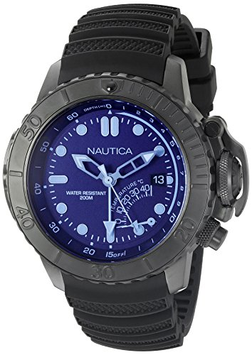 Nautica Herren nad52500g NMX Dive Style Blau Kristall Analog Display Analog Quartz Black Watch